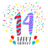 Happy Birthday for 14 year party invitation card. Happy birthday number 14, greeting card for fourteen year in fun art style with party confetti. Anniversary Stock Images