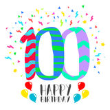 Happy Birthday for 100 year party invitation card. Happy birthday number 100, greeting card for one hundred year in fun art style with party confetti Royalty Free Stock Images