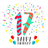 Happy Birthday for 17 year party invitation card. Happy birthday number 17, greeting card for seventeen year in fun art style with party confetti. Anniversary Stock Photo
