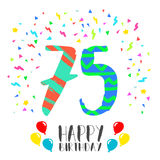 Happy Birthday for 75 year party invitation card Stock Image