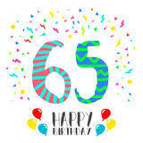Happy Birthday for 65 year party invitation card. Happy birthday number 65, greeting card for sixty five year in fun art style with party confetti. Anniversary Royalty Free Stock Images