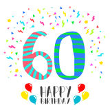 Happy Birthday for 60 year party invitation card. Happy birthday number 60, greeting card for sixty year in fun art style with party confetti. Anniversary Royalty Free Stock Photos