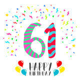 Happy Birthday for 61 year party invitation card Royalty Free Stock Image