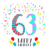 Happy Birthday for 63 year party invitation card. Happy birthday number 63, greeting card for sixty three year in fun art style with party confetti. Anniversary Stock Photos
