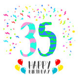 Happy Birthday for 35 year party invitation card. Happy birthday number 35, greeting card for thirty five year in fun art style with party confetti. Anniversary Stock Photos
