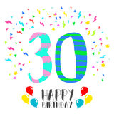 Happy Birthday for 30 year party invitation card. Happy birthday number 30, greeting card for thirty year in fun art style with party confetti. Anniversary Stock Photo