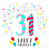 Happy Birthday for 31 year party invitation card Stock Images