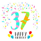 Happy Birthday for 37 year party invitation card. Happy birthday number 37, greeting card for thirty seven year in fun art style with party confetti. Anniversary Stock Photography