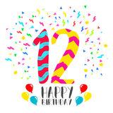Happy Birthday for 12 year party invitation card. Happy birthday number 12, greeting card for twelve year in fun art style with party confetti. Anniversary Stock Photo