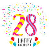 Happy Birthday for 28 year party invitation card. Happy birthday number 28, greeting card for twenty eight year in fun art style with party confetti. Anniversary Stock Image