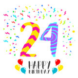 Happy Birthday for 24 year party invitation card. Happy birthday number 24, greeting card for twenty four year in fun art style with party confetti. Anniversary Stock Images