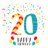 Happy Birthday for 20 year party invitation card. Happy birthday number 20, greeting card for twenty year in fun art style with party confetti. Anniversary Stock Image
