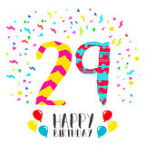 Happy Birthday for 29 year party invitation card. Happy birthday number 29, greeting card for twenty nine year in fun art style with party confetti. Anniversary Royalty Free Stock Photo