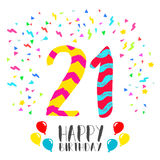 Happy Birthday for 21 year party invitation card Royalty Free Stock Images