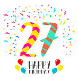 Happy Birthday for 27 year party invitation card. Happy birthday number 27, greeting card for twenty seven year in fun art style with party confetti. Anniversary Stock Photos