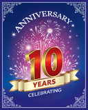 Happy birthday 10 years. Anniversary card 10 years in a frame with ornament and firework on a blue background Royalty Free Stock Photo