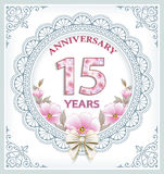 Happy Birthday 15 Years. Anniversary card with 18 years in a frame with an ornament and flowers stock illustration