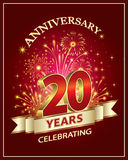 Happy birthday 20 years. Anniversary card 20 years old with fireworks on claret background Royalty Free Stock Photo
