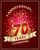 Happy Birthday 70 years. Anniversary card 70 years on red background Stock Images