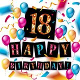 Happy birthday 18 years anniversary. Joy celebration. Vector Illustration with brilliant gold balloons and delight confetti for your unique greeting card Royalty Free Stock Photography