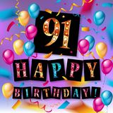 Happy birthday 91 years anniversary. Joy celebration. Vector Illustration with brilliant gold balloons delight confetti for your unique greeting card, banner vector illustration