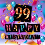 Happy birthday 99 years anniversary. Joy celebration. Vector Illustration with brilliant gold balloons delight confetti for your unique greeting card, banner Royalty Free Stock Photography