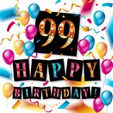 Happy birthday 99 years anniversary. Joy celebration. Vector Illustration with brilliant gold balloons delight confetti for your unique greeting card, banner Stock Images