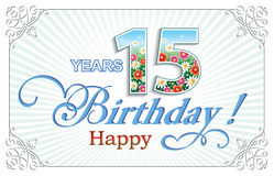 Happy Birthday 15 years. Greeting card birthday 15 years against the backdrop of the sun's rays Royalty Free Illustration