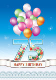 Happy birthday 75 years. Greeting card with balloons on a blue background Stock Images