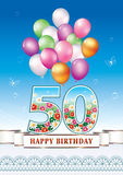 Happy birthday 50 years. Greeting card with balloons on a blue background Royalty Free Illustration