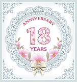 Happy birthday 18 years. Greeting card with flowers and in an openwork frame Royalty Free Stock Photo