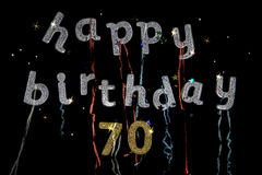 Happy Birthday 70 years old. Happy birthday to a 70 year old written in glitter words and numbers. Fun birthday message for those that are seventy years young Stock Image