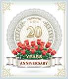 Happy birthday 20 years with roses. Postcard with the 20th anniversary with flowers and decorative frames Stock Image