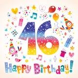 Happy Birthday 16 years. Teen greeting card Stock Photo
