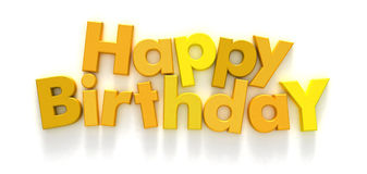 Happy Birthday in yellow letters Stock Image
