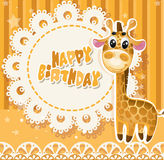 Happy Birthday yellow openwork card Royalty Free Stock Image