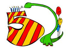 Happy birthday you all 5 years old boys. A green dino holding 3 balloons is blowing on 5 candles on a huge 5 Stock Images