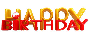 Happy Birthday3d colorful text with earth Royalty Free Stock Image