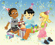 Happy Bithday Toys. A group of four kids celebrating a birthday party for a friend and giving him gifts Royalty Free Stock Photos