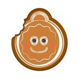 Happy bitten christmas ball gingerbread. Vector illustration design vector illustration