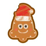 Happy bitten christmas bell gingerbread. With a christmas hat. Vector illustration design stock illustration