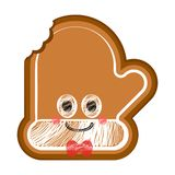 Happy bitten christmas glove gingerbread. With a bow tie. Vector illustration design royalty free illustration
