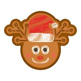 Happy bitten reindeer gingerbread. Isolated happy bitten reindeer gingerbread with a christmas hat. Vector illustration design royalty free illustration