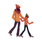 Happy black, african father and son ice skating together Stock Images