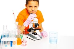 Little scientist kid Royalty Free Stock Photo