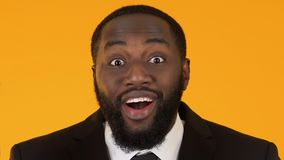 Happy black business man excited about new project success, crowd funding stock video