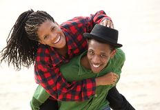 Happy black couple smiling outdoors Stock Photos