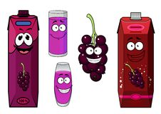 Happy black currant juice cartoon characters. Black currant juice cartoon characters with red and violet cardboard juice packs, glasses with beverages and Stock Photos