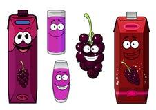 Happy black currant juice cartoon characters Stock Photos