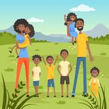 Happy black family with many children on nature background flat vector illustration Royalty Free Stock Photography